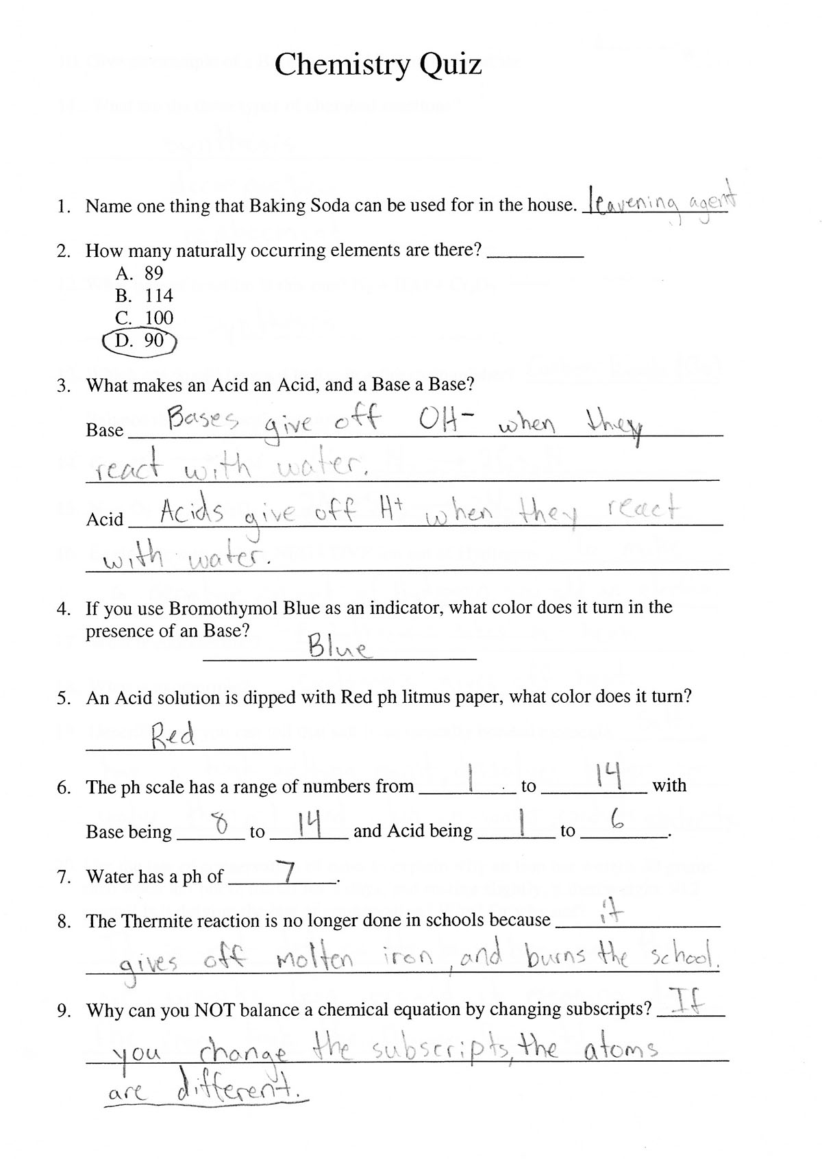 2008 4th quarter assignments 6th grade physical science chemistry quiz example p1