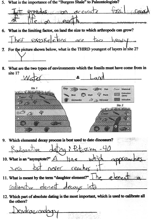 Dating The Fossil Record Worksheet Key