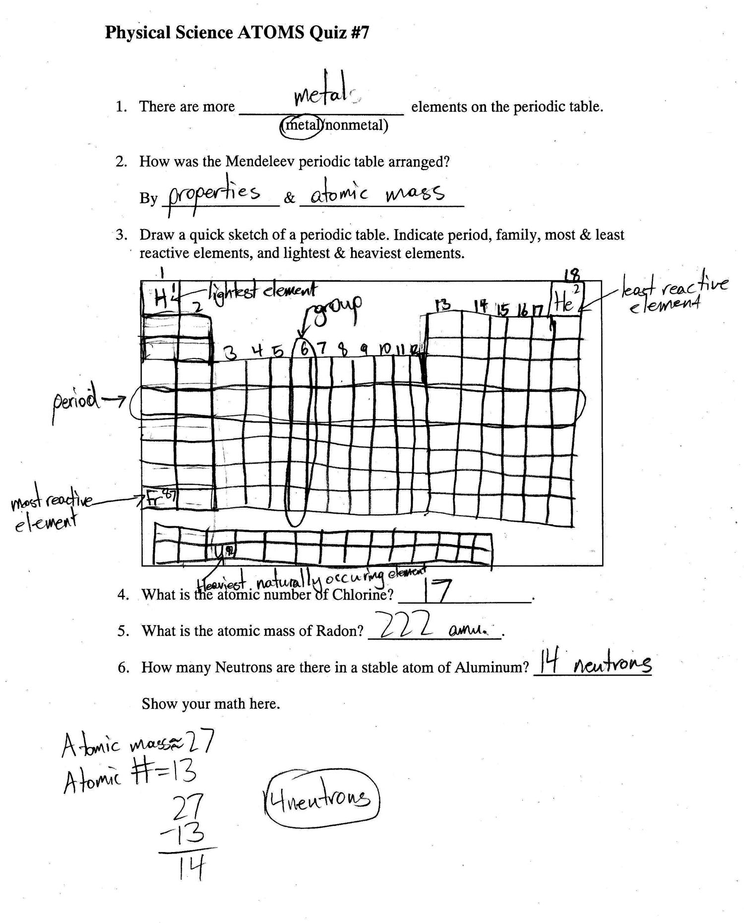 2014 4th quarter 6th grade assignments physical science quiz 7 example p1 urtaz Image collections